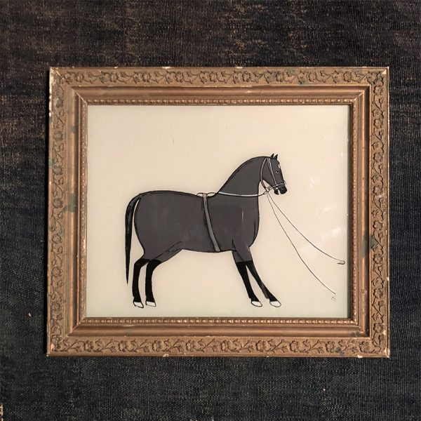 Grey Horse with Gold Frame